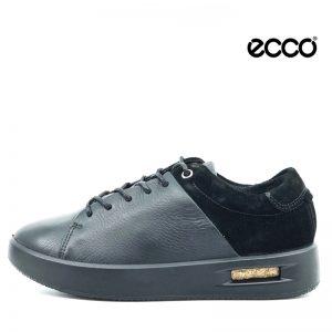 Ecco snøre sko i sort skind